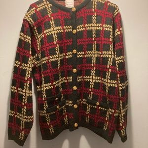 Hasting & Smith red/gold cardigan size large